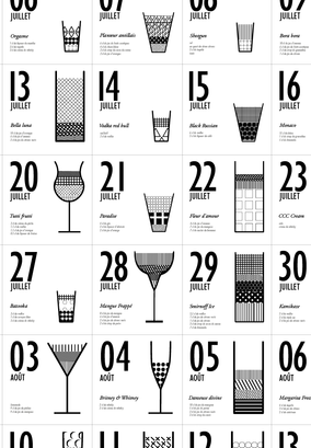 parisian editorial designer who created a typographically interesting calendar in 2011 entitled un jour un cocktail information design for cocktails at