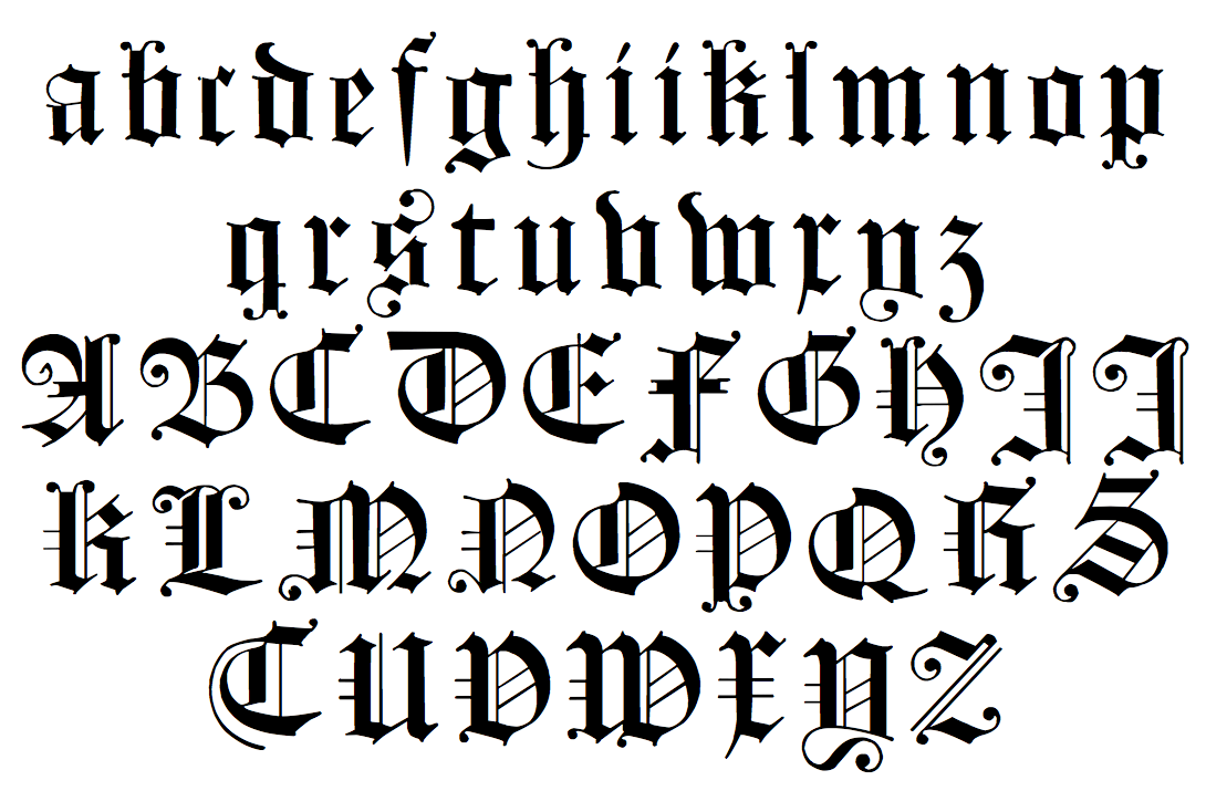Gothic calligraphy alphabet a z How to write calligraphy letters az