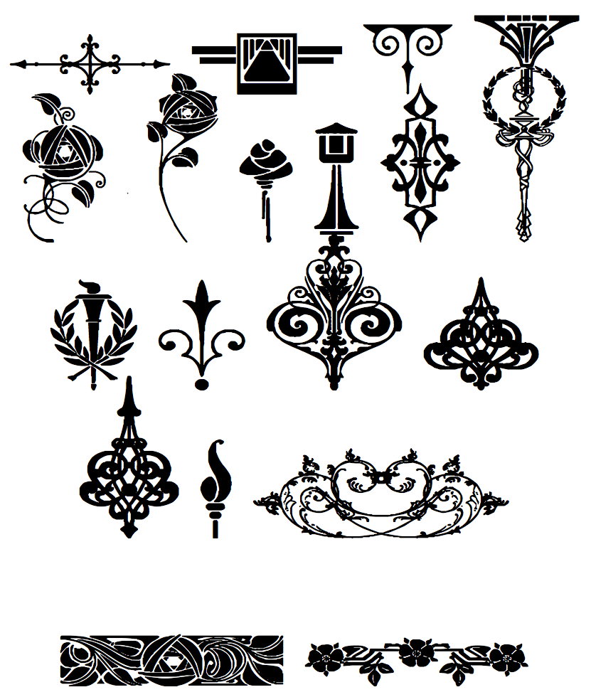 Golden era ornaments for Art nouveau decoration