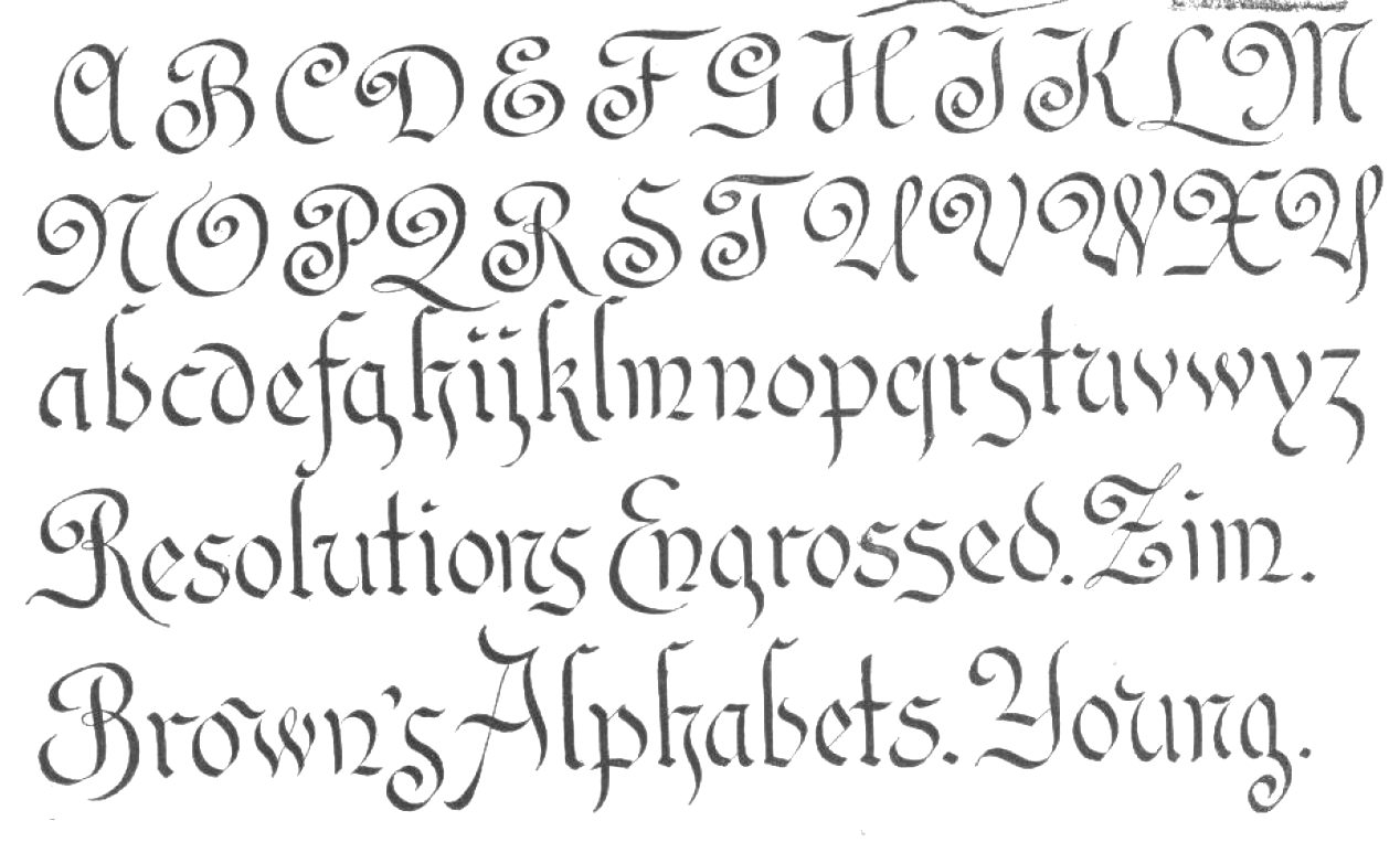 Old English Calligraphy Alphabet Dog Breeds Picture