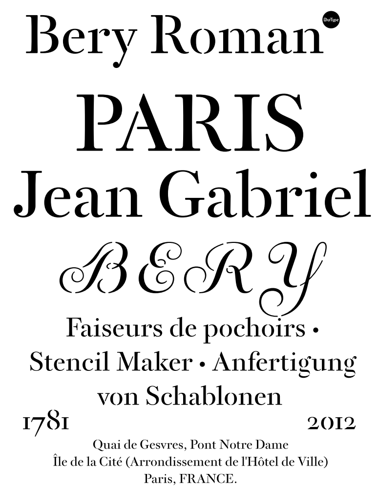 2012 at our type based on berys stencils