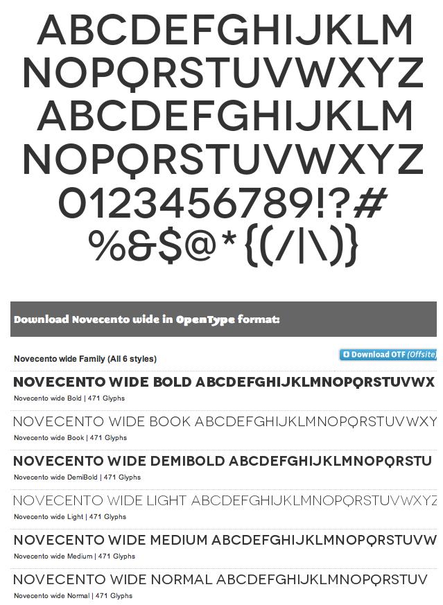 novecento wide bold font download