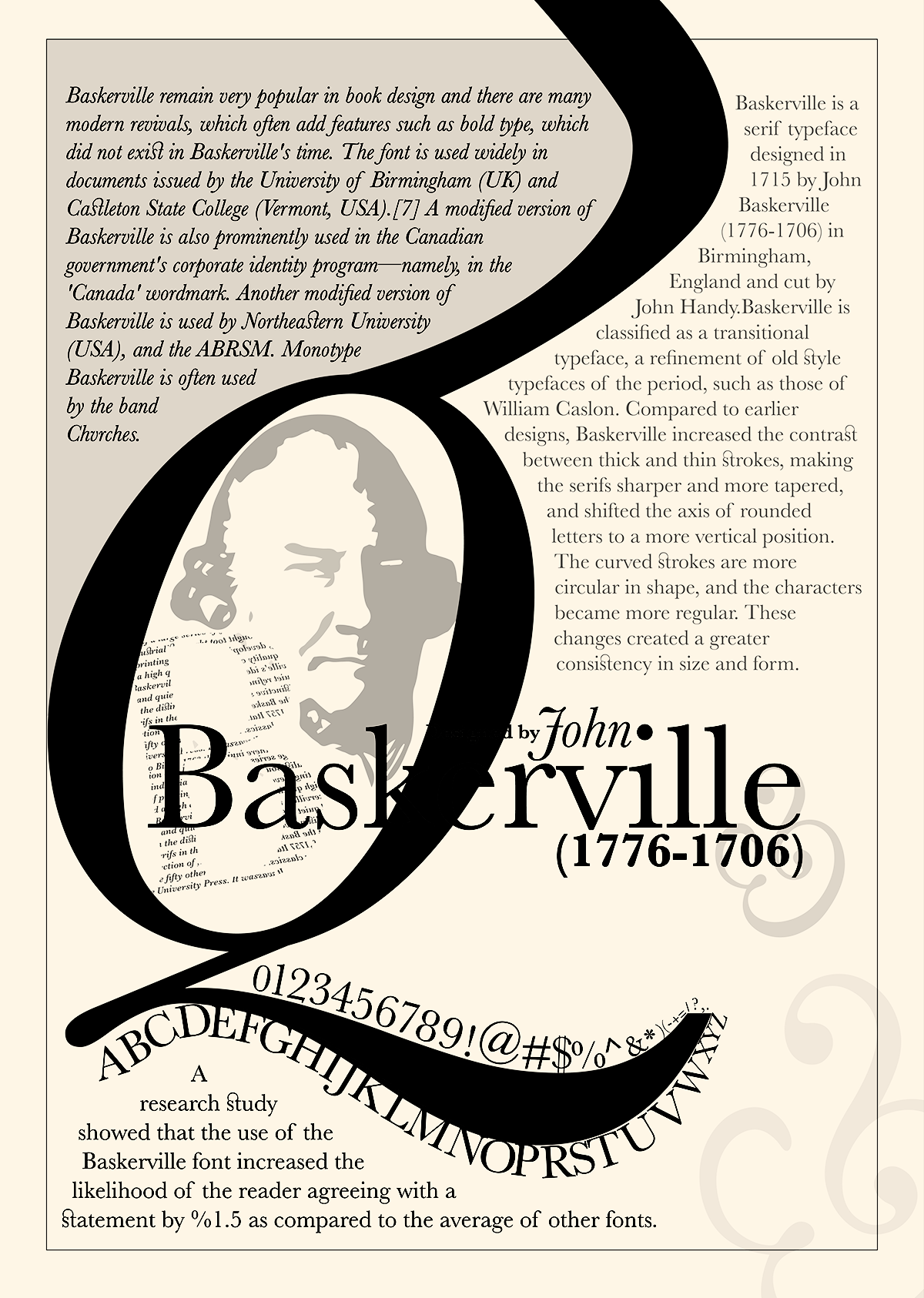 john baskerville John baskerville was an english businessman, in areas including japanning and papier-mâché, but he is best remembered as a printer and type designer.