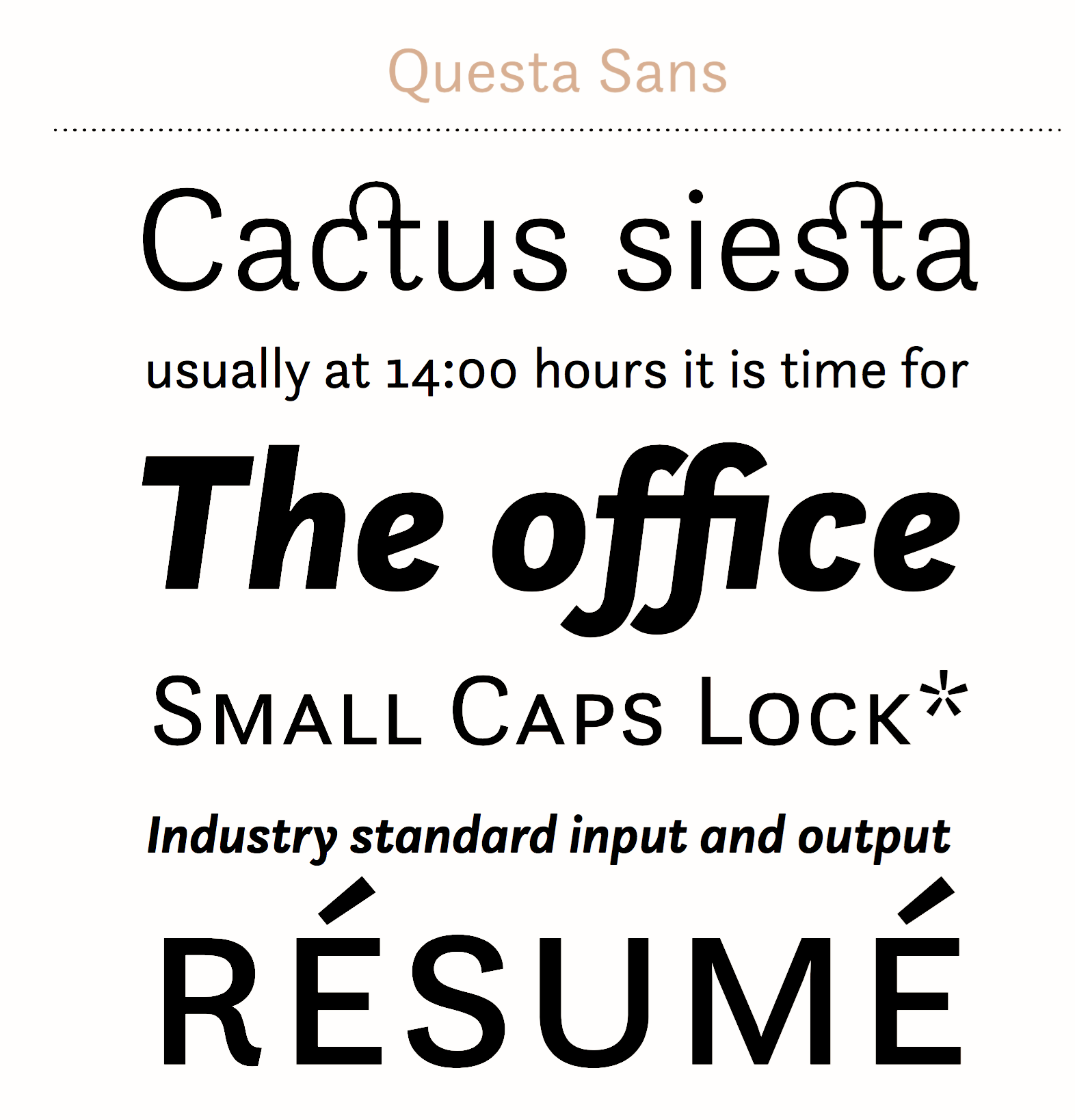 Questa sans in use fonts in use.