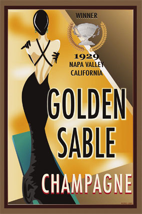 [Art deco poster for Napa Valley champagne by Californian artist Poto Leifi]