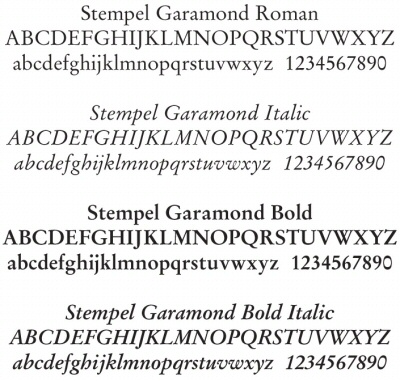 Choice of Garamond