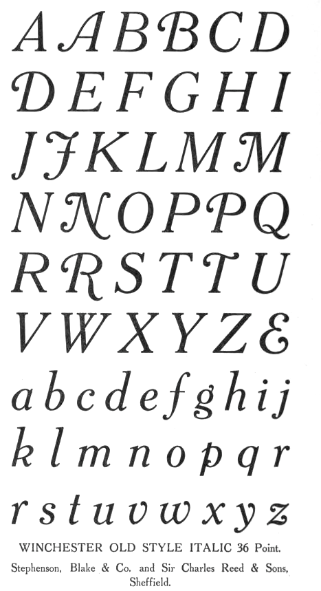 File Name Stephenson Blake Charles Reed Winchester Old Style Italic