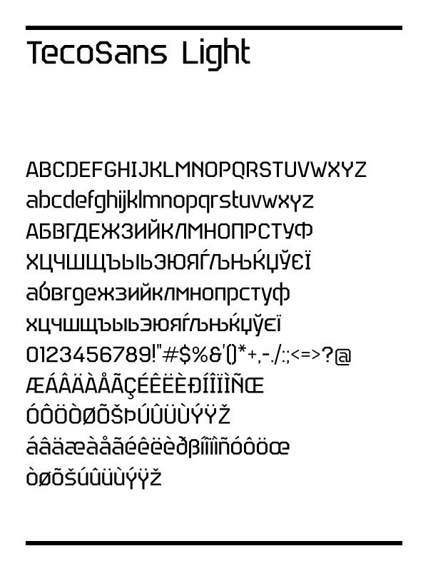 Teco Sans (2012) is an octagonal military typeface family, accompanied by  the icon font TecoSymbol (2012) and the stencil family Teco Sans Stencil  (2012).